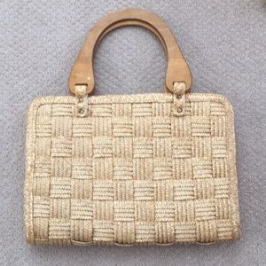 Vintage braided woven straw purse bag satchel